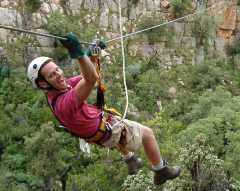 man enjoying canopy tour